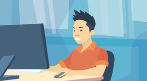 Asian Business Man Sitting Desk Working Laptop Computer. Vector Illustration royalty free illustration