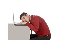 Asian business man sleeping working with laptop Stock Photos