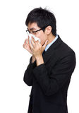 Asian business man sneeze Stock Image