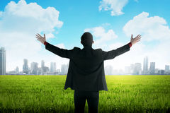 Asian business man standing on green meadow Royalty Free Stock Photo