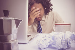 Asian Business man stressed. Business man stressed and under pressure, selective focus royalty free stock photos