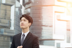 Asian business man thinking Royalty Free Stock Image