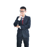 Asian Business man thinking isolated on white background, clipping path inside royalty free stock images