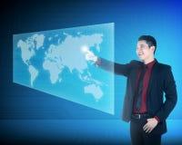 Asian business man touching world on virtual screen. Asian business woman touching world on virtual screen. Globalization business concept Stock Image