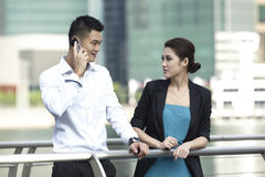 Asian Business man using at a phone Stock Photo