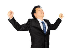 Asian business man with very exciting expression Stock Photography