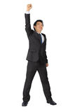 Asian business man with very exiting posture on white. Stock Image