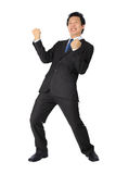 Asian business man with very exiting posture on white. Stock Photography