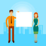 Asian Business Man Woman Hold Empty Banner Copy Space City Background. Flat Vector Illustration Royalty Free Stock Photo