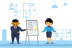 Asian Business Man And Woman Holding Presentation, Finance Report On Flip Chart, Korean Businesspeople Training. Conference Flat Vector Illustration Royalty Free Stock Image