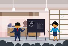 Asian Business Man And Woman Holding Presentation, Sketch Finance Graphs On Flip Chart, Korean Businesspeople Training. Conference Or Report Meeting Flat Vector Stock Image