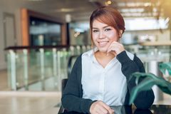 Asian business office women looking and smile royalty free stock photography