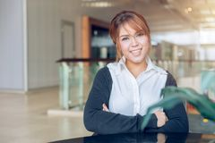 Asian business office women looking and smile in modern stock image