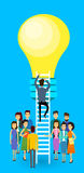 Asian Business People Group Businessman Climb Up Ladder Stairs To Light Bulb New Idea Concept. Asia Businesspeople Team Flat Vector Illustration Royalty Free Stock Images