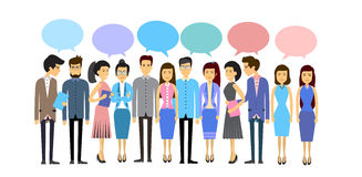 Asian Business People Group Casual Crowd With Chat Bubble Social Network Communication Concept Flat Stock Image