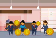 Asian Business People Group Holding Bitcoins Coins Financial Success Cryptocurrency Mining Concept. Flat Vector Illustration Royalty Free Stock Photo