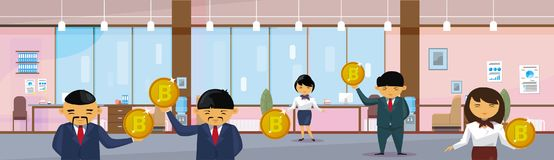 Asian Business People Group Holding Bitcoins Coins Financial Success Cryptocurrency Mining Concept Horizontal Banner. Flat Vector Illustration Stock Images