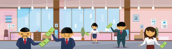 Asian Business People Group Holding Dollar In Modern Office Banknotes Salary Or Financial Success Profit Concept. Horizontal Banner Flat Vector Illustration Royalty Free Stock Image