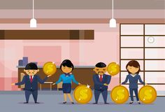 Asian Business People Group Holding Golden Coins Financial Success Profit Concept. Flat Vector Illustration Stock Photos