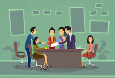 Asian Business People Meeting Discussing Office Desk Businesspeople Working Flat Stock Image