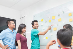 Asian business people team drawing on white wall Stock Photography