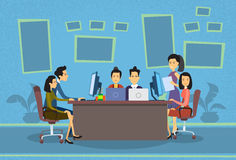 Asian Business People Working Computer Meeting Discussing Office Desk Businesspeople Flat. Vector Illustration Stock Image