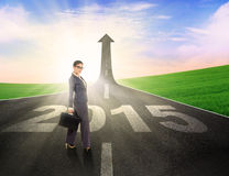Asian business person on the highway Royalty Free Stock Image