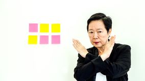 Asian business senior woman unhappy expression with copy space n Royalty Free Stock Photo