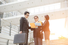 Asian business team outdoor Royalty Free Stock Photos