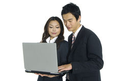 Asian business teams. Business woman and man working together Stock Images