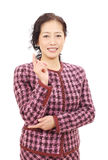 Asian business woman. Portrait of asian business woman pointing Stock Photo