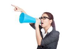 Asian business woman angry yell and point with megaphone. Isolated on white background Stock Images