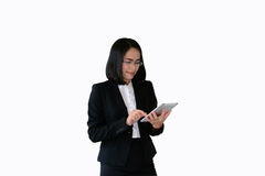 Asian business woman and black working  suit with  commitment wo Stock Image