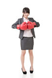 Asian business woman with boxing gloves Royalty Free Stock Images