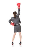 Asian business woman with boxing gloves Stock Photo