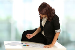 Asian Business woman with checking some work Stock Photos