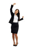 Asian Business Woman cheering success Royalty Free Stock Photography