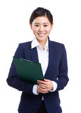 Asian business woman with clipboard Stock Images