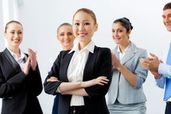 Asian business woman with colleagues Stock Photo