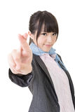 Asian business woman cross fingers Royalty Free Stock Photography