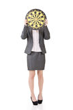 Asian business woman with a dartboard Royalty Free Stock Photography