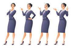 Asian business woman in different poses. Vector set. Vector set of cartoon business formal dressed Asian woman in different poses isolated on white background Stock Photos