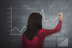 Asian business woman drawing graph income Stock Photography