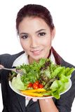 Asian business woman eat salad Royalty Free Stock Photography