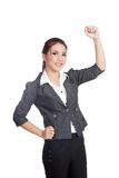 Asian business woman fist pump for  success. Isolated on white background Stock Images