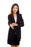 Asian business woman giving hand. Royalty Free Stock Images