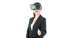 Asian business woman handshake by VR headset glasses Royalty Free Stock Photo