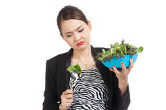 Asian business woman hate salad Royalty Free Stock Photo
