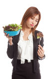 Asian business woman hate salad Stock Photography