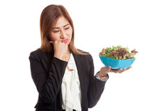 Asian business woman hate salad Stock Images